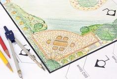Plano do jardim do projeto do arquiteto de paisagem Fotos de Stock Royalty Free