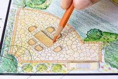 Plano do jardim do projeto do arquiteto de paisagem Foto de Stock Royalty Free