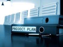 Plano do projeto na pasta do escritório Imagem borrada 3d Imagens de Stock Royalty Free