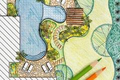 Plano do quintal do projeto do arquiteto de paisagem Fotos de Stock Royalty Free