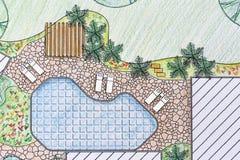 Plano do quintal do projeto do arquiteto de paisagem Fotos de Stock