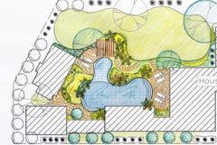 Plano do quintal do projeto do arquiteto de paisagem para a casa de campo Imagens de Stock Royalty Free