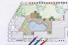 Plano do quintal do projeto do arquiteto de paisagem para a casa de campo Fotos de Stock