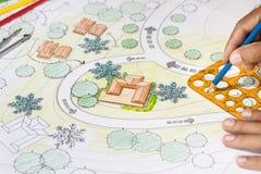 Plano do quintal do projeto do arquiteto de paisagem para a casa de campo Foto de Stock Royalty Free