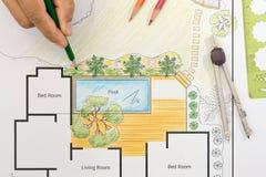 Plano do quintal do projeto do arquiteto de paisagem para a casa de campo Imagens de Stock