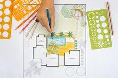 Plano do quintal do projeto do arquiteto de paisagem para a casa de campo Foto de Stock