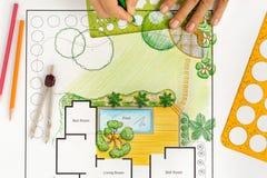 Plano do quintal do projeto do arquiteto de paisagem para a casa de campo Fotografia de Stock