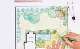 Plano do quintal do projeto do arquiteto de paisagem para a casa de campo Imagem de Stock