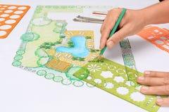Plano do quintal do projeto do arquiteto de paisagem para a casa de campo Imagem de Stock Royalty Free