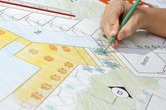 Plano do recurso de Design do arquiteto de paisagem Fotografia de Stock Royalty Free
