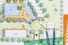 Plano do recurso do hotel de Design do arquiteto de paisagem Imagens de Stock