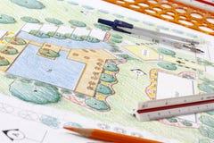 Plano do recurso do hotel de Design do arquiteto de paisagem Fotografia de Stock Royalty Free