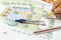 Plano do recurso do hotel de Design do arquiteto de paisagem Foto de Stock