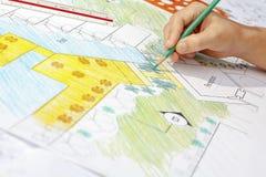 Plano do recurso do hotel de Design do arquiteto de paisagem Fotografia de Stock