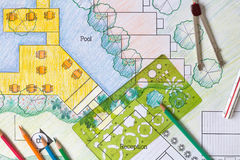 Plano do recurso do hotel de Design do arquiteto de paisagem Fotos de Stock