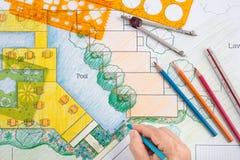 Plano do recurso do hotel de Design do arquiteto de paisagem Foto de Stock Royalty Free