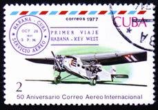 plano do Três-motor e de voo da Cuba-chave ø cancelamento ocidental, outubro 28, 1927 Fotos de Stock Royalty Free