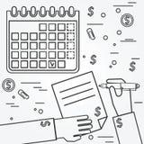 Plano empresarial brainstorm Pense a linha ícone ilustração royalty free