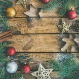 Plano-endecha del día de fiesta de la Navidad o del Año Nuevo, visión superior, espacio de la copia Foto de archivo