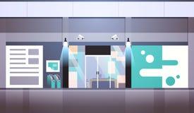 Plano exterior do equipamento da câmera de sistema de vigilância do CCTV da visão noturna da construção do negócio da porta de en ilustração stock
