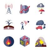 Plano fijado iconos de la contaminación Imagen de archivo
