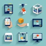 Plano fijado iconos de la impresora 3d ilustración del vector