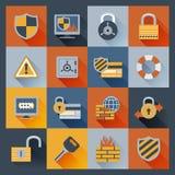 Plano fijado iconos de la seguridad Fotos de archivo libres de regalías
