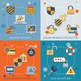 Plano fijado iconos de la seguridad Fotos de archivo