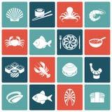Plano fijado iconos de los mariscos Fotos de archivo libres de regalías