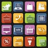 Plano fijado iconos del comercio electrónico Foto de archivo libre de regalías