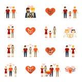 Plano fijado iconos no tradicionales de la familia Imágenes de archivo libres de regalías
