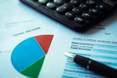 Plano financeiro do lucro, conceito do negócio, análise financeira - declaração de rendimentos imagens de stock
