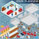 Plano home isométrico jogo da criação do vetor 3D Imagens de Stock Royalty Free
