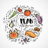 Plano Ketogenic - ilustração do esboço do vetor - conceito saudável multi-colorido do esboço Plano saudável da dieta do keto com  ilustração royalty free