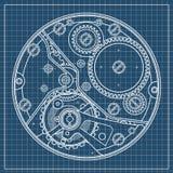 Plano mecânico dos relógios com engrenagens Desenho do dispositivo interno Pode ser usado como exemplo de harmonioso Fotos de Stock