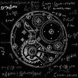 Plano mecânico dos relógios com engrenagens Desenho do dispositivo interno Pode ser usado como exemplo de harmonioso ilustração royalty free
