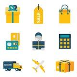 Plano na moda moderno da compra e do transporte isolado Imagem de Stock