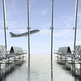 Plano no céu através do vidro do aeroporto Fotografia de Stock