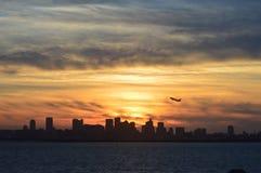 Plano que descola em Boston Fotos de Stock Royalty Free