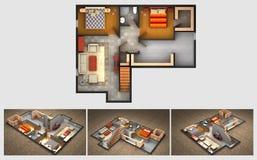 Plano rendido da casa e três opiniões isométricas da seção ilustração stock