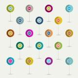 Plano simplesmente minimalistic 24 do símbolo horas de grupo do ícone. Fotos de Stock Royalty Free