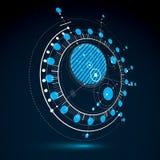 Plano técnico, esboço abstrato azul da engenharia para o uso no gráfico Foto de Stock Royalty Free