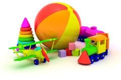 Plano, trem, pirâmide e esfera Imagens de Stock
