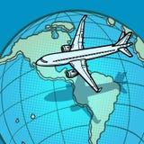 Plano voa sobre o globo América ilustração stock