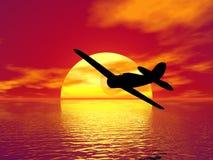 Plano y puesta del sol stock de ilustración