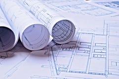 Planos arquitetónicos de uma moradia Fotografia de Stock Royalty Free