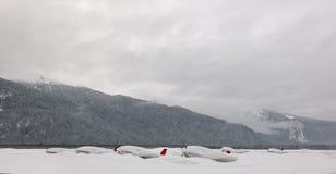 Planos bajo nieve. Foto de archivo libre de regalías