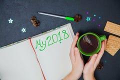 Planos da escrita pelo ano novo meu 2018 para fazer a lista Fotos de Stock Royalty Free