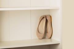Planos das sapatas das mulheres na prateleira no armário Fotos de Stock