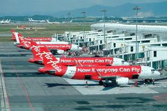 Planos de Air Asia Foto de Stock Royalty Free